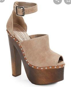 SCHUTZ Kendra Suede Peep-Toe Platform Sandals 8
